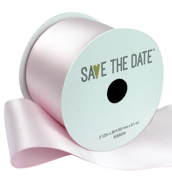 """Save the Date 2.5"""" x 30ft Ribbon-Pink Satin"""