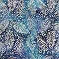 Textured Cotton Batik Apparel Fabric-White Fronds on Blue