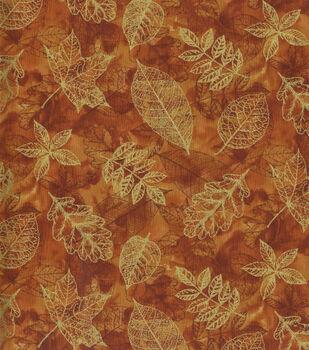 Harvest Cotton Fabric-Stamped Leaves on Orange