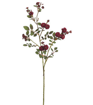 "Bloom Room 30"" Pompon Rose Spray-Burgundy"