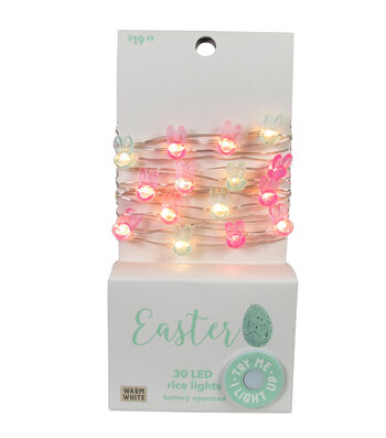Easter Decor 30 ct Multicolor Bunnies with Warm White LED Rice Lights