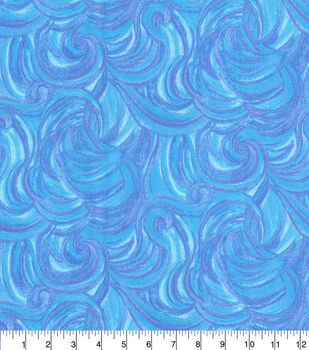 Keepsake Calico Cotton Fabric-Harmony Blue Glitter Swirl