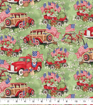 Patriotic Cotton Fabric-Red Trucks and Wagons