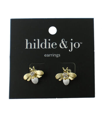 hildie & jo Bee Gold Stud Earrings-Clear Crystals