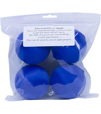 "Satin Balls 3"" 4/Pkg-Dark Blue"