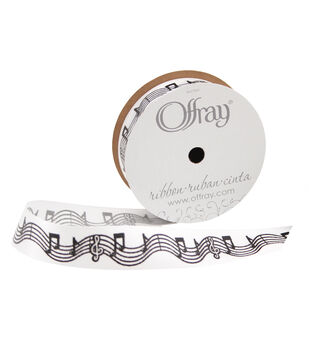 """Offray 7/8""""x9' Music Notes Abstract Single Faced Satin Ribbon-Black and White"""