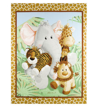 Nursery Cotton Fabric -Jungle Babies Panel