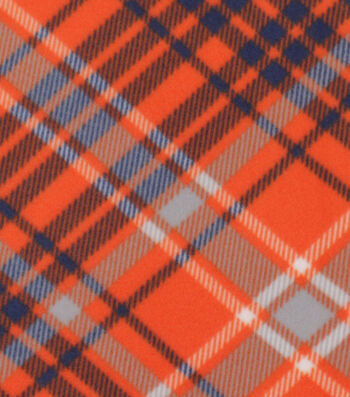 "Blizzard Fleece Fabric 59""-Kate Navy & Orange Plaid"