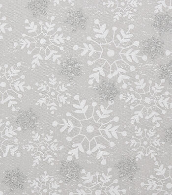 """Christmas Cotton Fabric 43""""-Tossed Silver Snowflakes"""