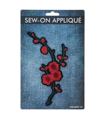 Sew-on Applique -Red Cherry Blossom