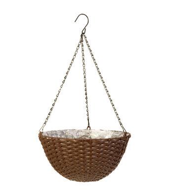 In the Garden 14'' Woven Hanging Basket-Brown