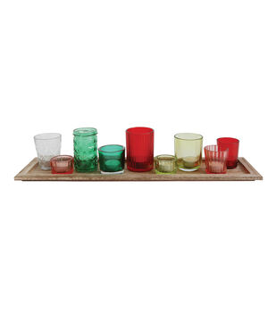 Christmas Wood Tray with Glass Votive Holders