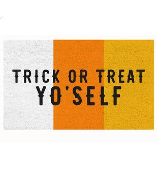 Maker's Halloween Natural Tufted Coir Mat-Trick or Treat Yo'self