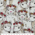 Anti-Pill Plush Fleece Fabric-Floral Crown Llama