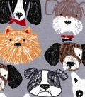 Snuggle Flannel Fabric -Sketched Dog Faces