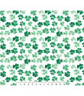 St. Patrick\u0027s Day Cotton Fabric-Photo Real Clovers On White