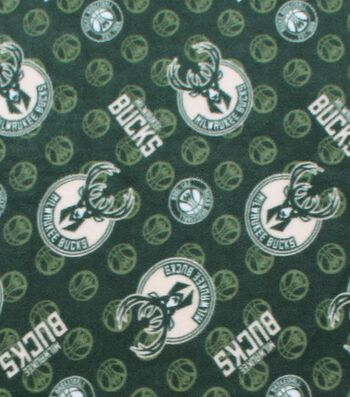 Milwaukee Bucks Fleece Fabric -Logo Toss