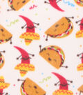 Blizzard Fleece Fabric 59\u0022-Tacos & Peppers White