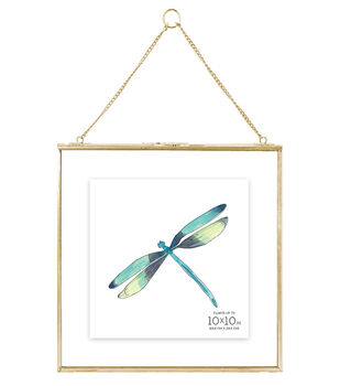 Pressed Glass & Metal Hanging Float Picture Frame 10''x10''-Brass