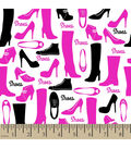 Snuggle Flannel Fabric -Shoes Dark Pink