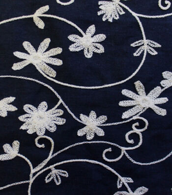 Embroidered Linen Fabric-Floral Navy/Ivory
