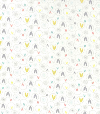 Easter Cotton Fabric-Spring Pastels Ears Cream