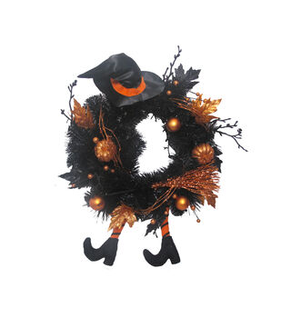 Maker's Halloween Tinsel Wreath with Witch Legs