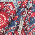 Americana Summer Rayon Crinkle Fabric-Blue Red Wave Folk Floral