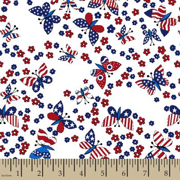 Patriotic Butterfly Print Fabric