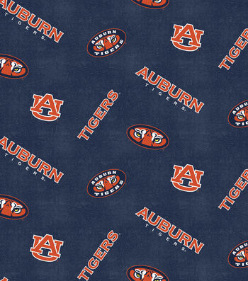 "Auburn University Tigers Flannel Fabric 42""-Distressed Logo"