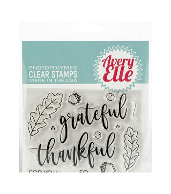 Avery Elle Christmas 13 pk Clear Stamps-Grateful