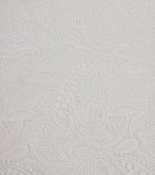 Polyester Embroidered Fabric-Bright White Corded Floral