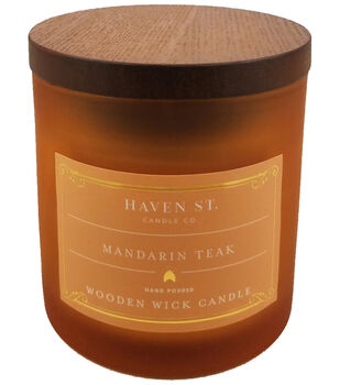 Haven St. Candle Co. 5 oz. Mandarin Teak Scented Wooden Wick Jar Candle