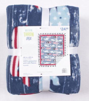 """No Sew Fleece Throw 48""""-Patriotic Whales"""