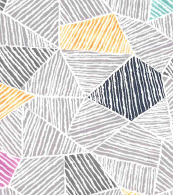 Premium Cotton Fabric 43''-Gray Mosaic Geometrics