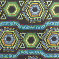 Cotton Shirting Fabric-Black Turquoise Hexagons