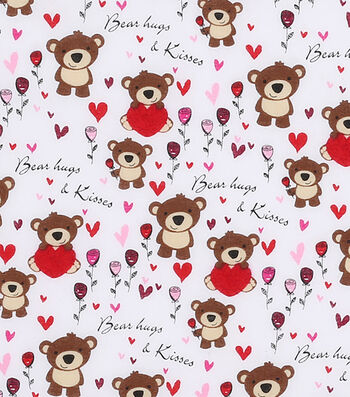 Valentine's Day Fabric 43''-Bears Hugs & Kisses