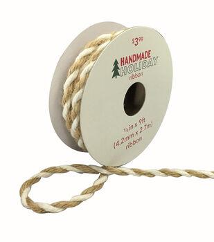 Handmade Holiday Christmas Jute Twist Cord Ribbon 1/6''x9'-White & Beige