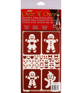 Armour Products Over 'N' Over 5''x8'' Reusable Stencil-Gingerbread Folks