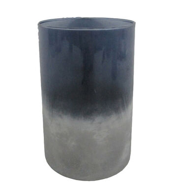 Blooming Autumn Large Glass Vase-Tonal Indigo