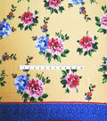Smocked Dressing Rayon Fabric -Painted Floral on Yellow