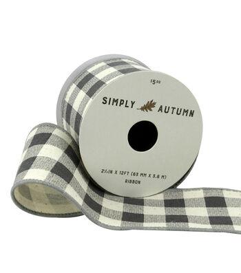 Simply Autumn Ribbon 2.5''x12'-Slate Buffalo Plaid