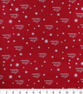 Christmas Cotton Fabric-Merry Christmas & Dots on Red