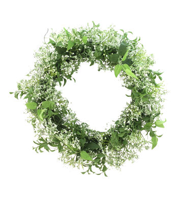 Fresh Picked Spring 21'' Baby's Breath & Leaf Wreath-White