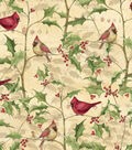 Susan Winget Cotton Print Fabric 43\u0027\u0027-Cardinal on Vines