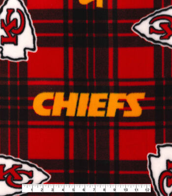 Kansas City Chiefs Fleece Fabric -Plaid