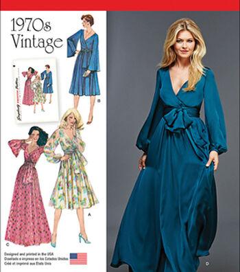 Simplicity Patterns Us8013H5-Simplicity Misses' Vintage 1970'S Dresses'-6-8-10-12-14