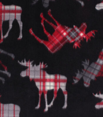 "Anti-Pill Plush Fleece Fabric 58""-Vail Tossed Pattern Moose"