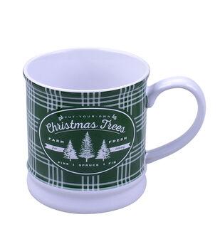 Handmade Holiday Christmas 16 oz. Stoneware Mug-Christmas Trees
