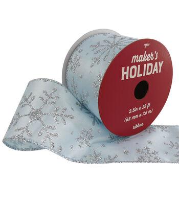 Maker's Holiday Ribbon 2.5''x25'-Glitter Snowflakes on Light Blue